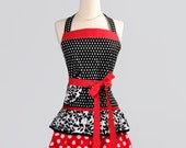 Ruffled Retro Apron / Cute Flirty Retro Womens Apron in Modern Kitsch Red Black White Dots