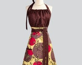 Cute Kitsch Apron - Handmade Modern Design in Treetop Fancy by Tina Givens in Shades of Brown and Raspberry Pink with Brown Polka Dot Trims