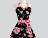 Womens Sweetheart Apron / Cute Tea for Two Fabric Pattern in Black Trimmed in Red Black and White Stripe