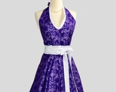 Womens Halter Hostess . Classy Apron in Bright Purple Swirl and White Ruffle Trim