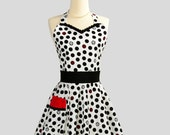 Womens Sweetheart Hostess Apron : Cute Retro Ruffled Sweetheart in Black and White Polka Dot with Red Waist Ties