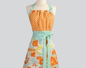 Cute Kitsch Apron / Womens Handmade Full Apron with Retro Appeal in Aqua Orange and Oyster White Floral