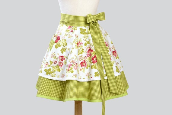 Retro Womens Half Apron , Flirty Half Apron Double Skirt in Spring Apple Blossom Green and Pink on White