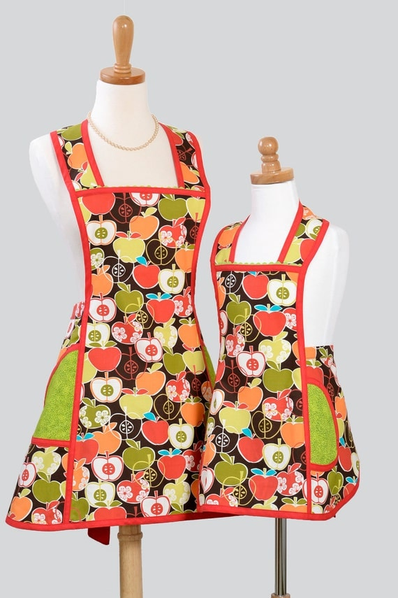 Mother Daughter Aprons :  Custom Listing for Laura Vintage Inspired Aprons in  Mother Daughter Set Bite Me Apples in Autumn Harvest Colors