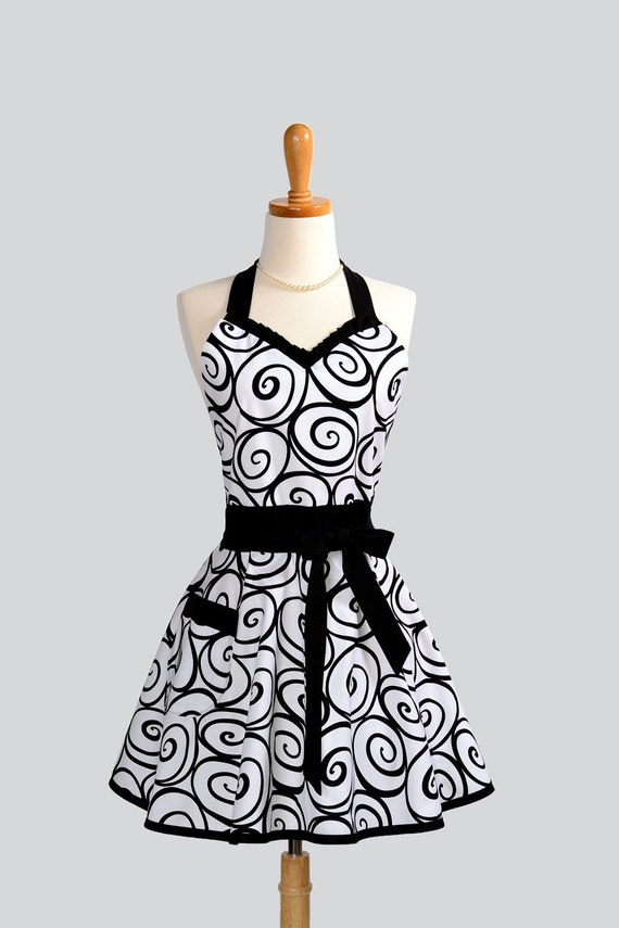 Sweetheart Retro Apron - Sexy Cute Womens Apron Michael Miller Ironwork Ivory with Ebony Swirl
