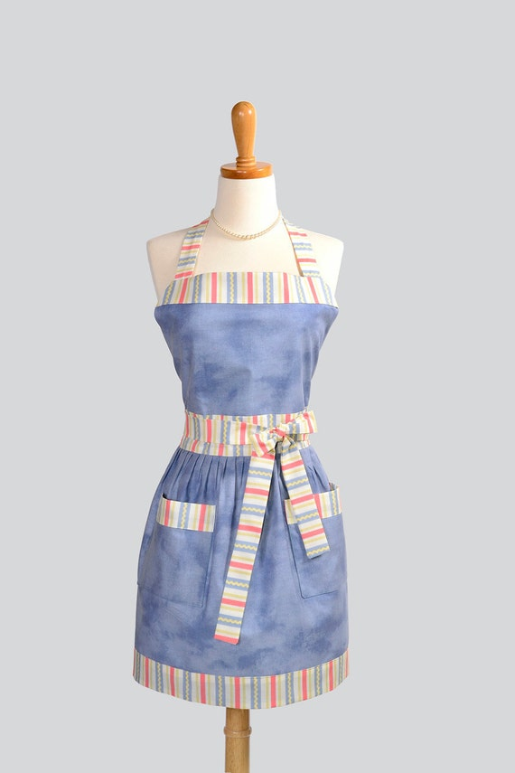 SPRING CLEANING SALE Womens Bib Apron / Casual Chic this apron in Blue Denim Brushed Cotton is Trimmed in Red White Blue Stripe