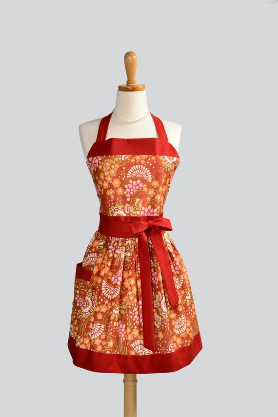 Womens Classic Bib Apron - Handmade Feminine Amy Butler Geisha Fans in Orange and Rust