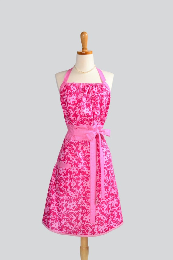 RESERVED for NICOLE Cute Kitsch Apron - Handmade Modern Design in Soft Pink Damask Scrolls