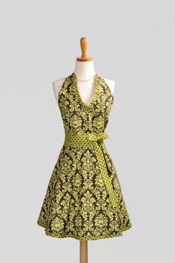 Womens Halter Hostess Apron . Classy Apron in Michael Millers Avocado Damask Trimmed with Matching Dots