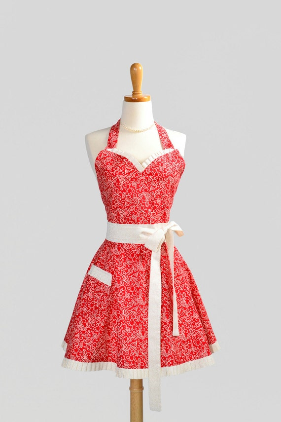Womens Sweetheart Apron / Red Swirls with Ivory Swirl and White Trims are Keeping it Simple and Cute