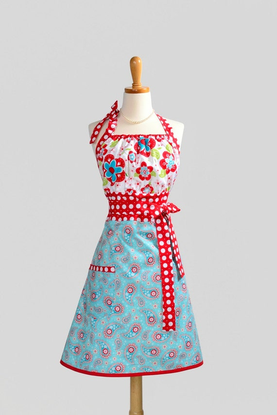 Cute Kitsch Apron . Riley Blake Large Red and Turquoise Blue Floral and Paisley