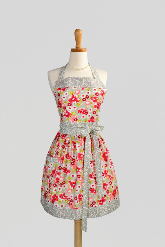Womens Classic Bib Apron - Handmade Elegant and Feminine Moda Ruby Floral in Grey and Red by Bonnie and Camille