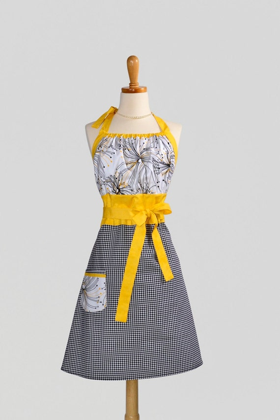 Cute Kitsch Apron . Michael Miller Black Houndstooth Skirt and Abstract Night & Day Yellow and Black Bodice