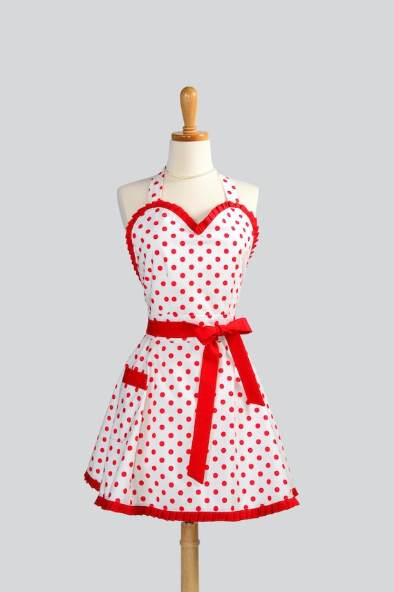 Womens Flirty PinUp Sweetheart Apron - Retro Ruffled Sexy White with Red Dot and Ruffle