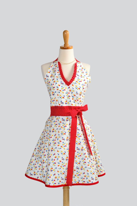 Sexy Womens Hostess - Handmade Halter Apron in Retro Mini Berry of Blue Yellow and Red with Polka Dot Red Trim