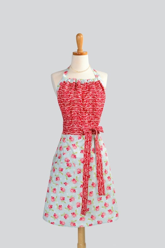 SALE Cute Kitsch Apron / Mellow Red and White Filigree Bodice on Sky Blue with Red to Pink Roses Skirt