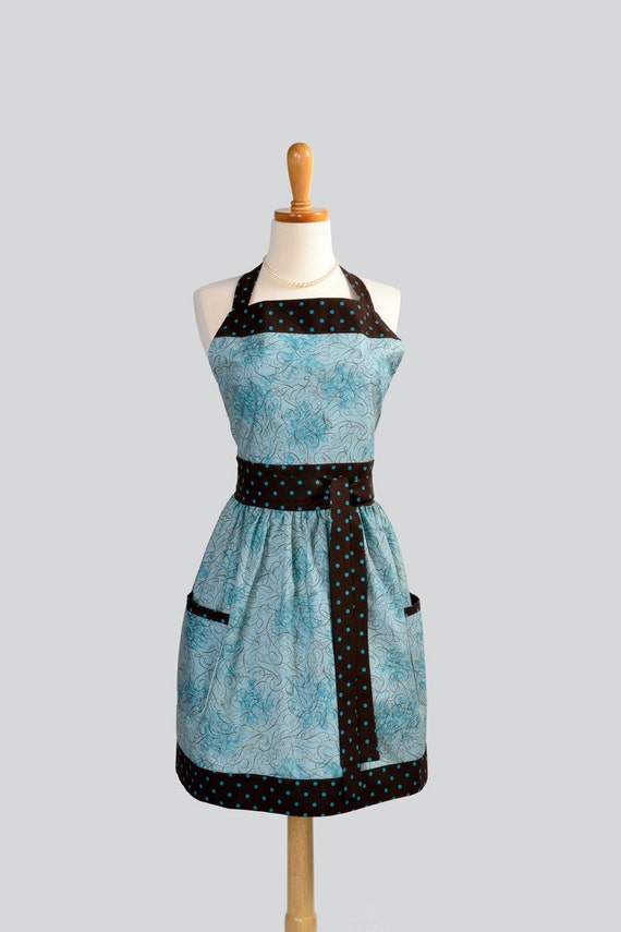 Womens Bib Full Apron . Full Kitchen Apron in Teals with Brown and Teal Polka Dot Trim Perfect for Monogram or Personalization