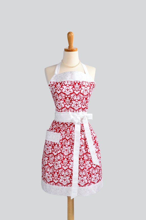 Womens Bib Full Apron , Full Handmade Kitchen Apron in Traditional Red and White Damask Perfect for Personalization