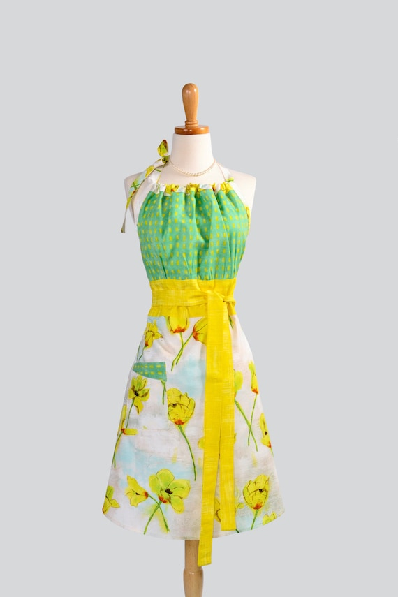 Cute Kitsch Apron / Magnolia Lane by Michael Miller in Spring Yellow and Teal Green on Cloudy Day Ivory