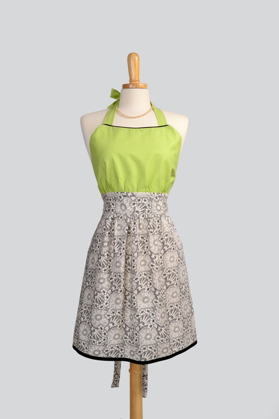Retro Womens Bib Apron . April In Paris Floral Skirt With Lime Green Pin Dot Bodice