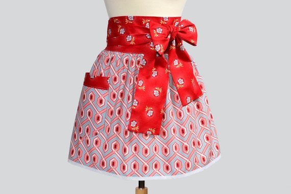 Retro Womens Half Apron . Cute Half Apron in Joel Dewberry Fabric Obi Style Red on Blue