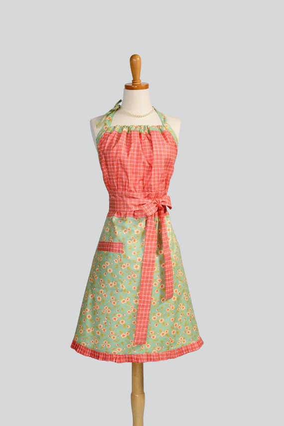 Cute Kitsch Apron / Retro Orange Plaid Bodice and Teal with Petite Flower Skirt