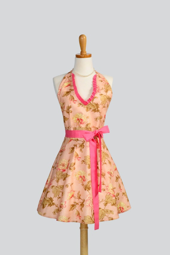Womens Halter Hostess / Apron in Lovely Floral in Popular Coral Tones with Ruffle on V Neck Bodice