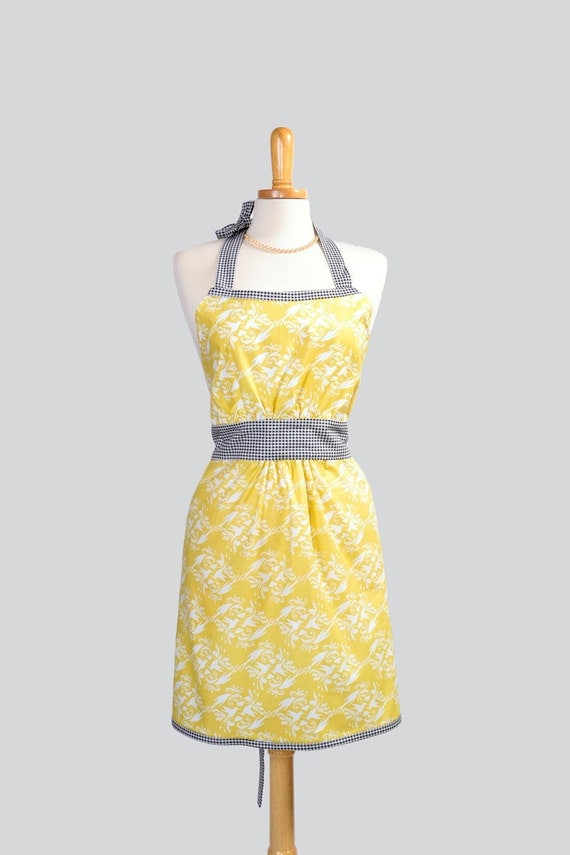 Retro Womens Bib Apron . White Hummingbirds Damask Print  On A Soft Yellow Black and White Houndstooth Trim