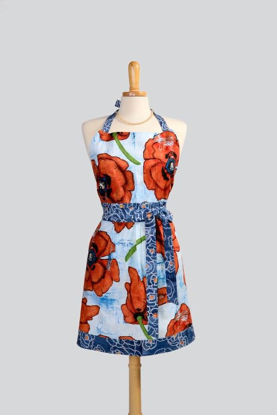 SALE Retro Womens Bib Apron , Sexy Sophisticated Poppy Spice in Shades of Cinnamon Denim Blue Designed by Laura Gunn for Michael Miller