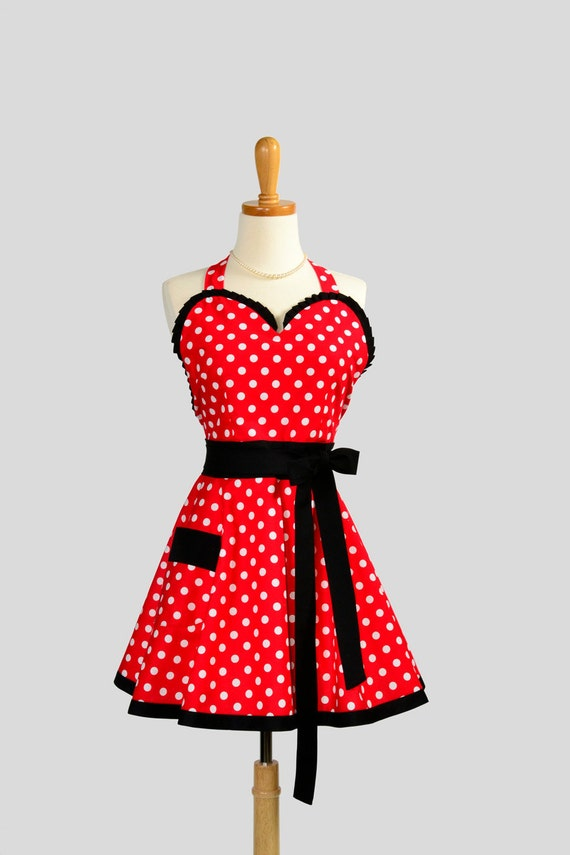 Flirty Sweetheart Apron : Pin Up Ruffled Sexy Red and white Polka dot with Black trim