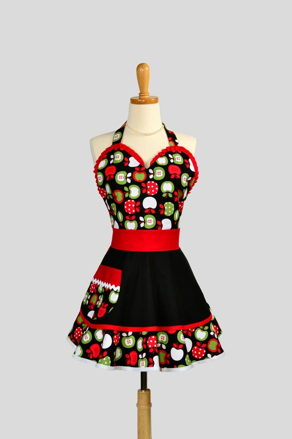 Womens Flirty PinUp Sweetheart Apron : Retro Ruffled Adorable Red Green and Black Apples with Two layered skirt