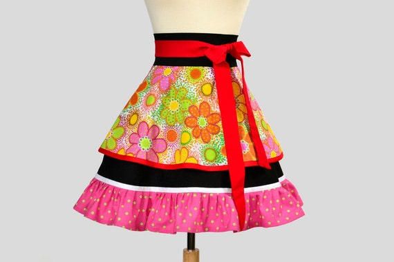 SALE 25% OFF Retro Womens Half Apron : Flirty Half Apron in Bold Rainbow Floral and Black Color with Pink and Green Small Dot Ruffle