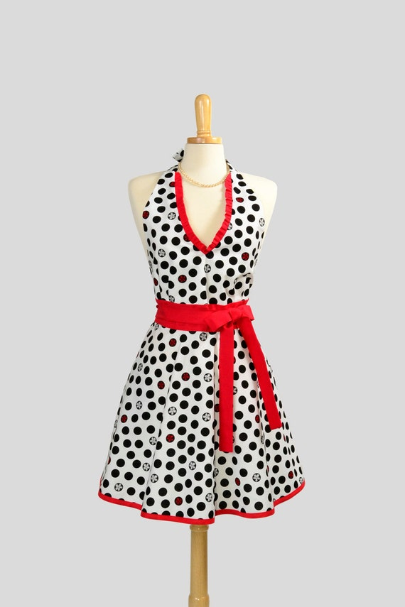 Womens Halter Hostess Apron . Classy Apron Black Dots and Red and White Flowers In Black Dots All on White