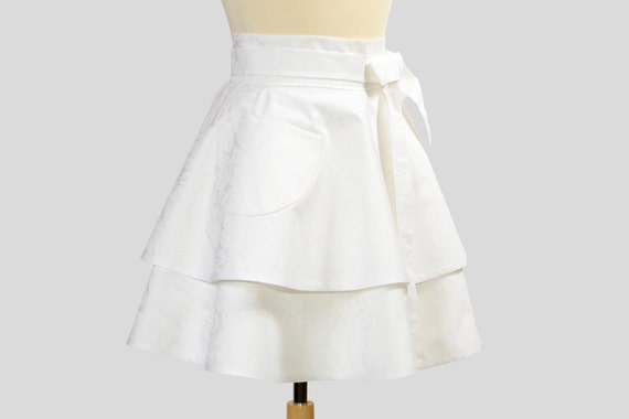 RESERVED CUSTOM LISTING for Giuliah Waist  Apron , Double Skirt Half Apron Light Pink with Black Trim