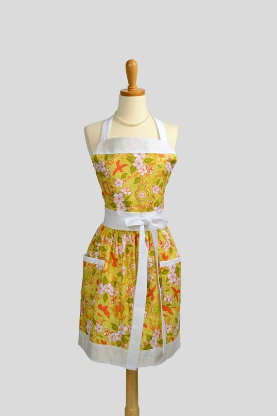 Womens BibFull Apron . Full Kitchen Apron in Riley Blake Hummingbirds and Pear Blossoms Perfect for Monogram or Personalization