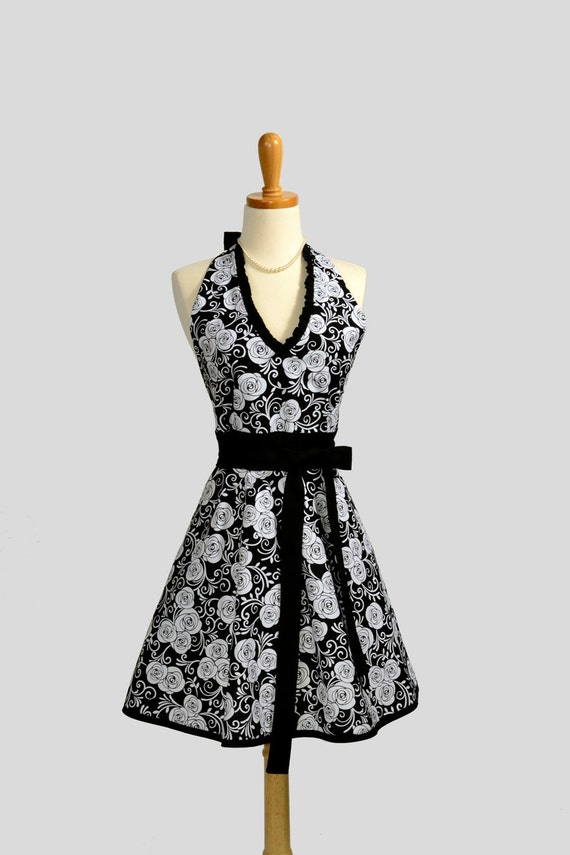 Halter Womens  Apron . Cute Handmade Full Bib Kitchen Hostess Apron Elegant White Roses on Black Handmade Retro Full Apron