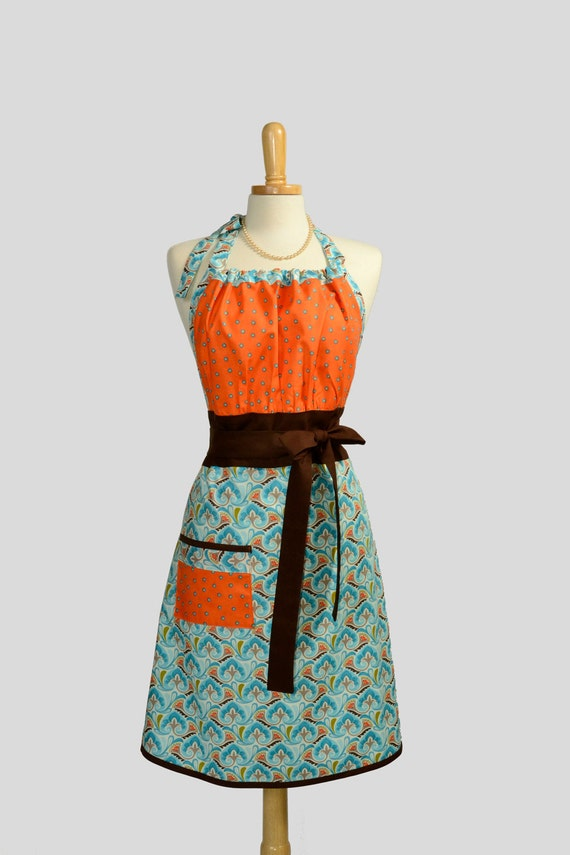 Cute Kitsch Apron / Retro Design and Colors of Orange Teal Blue Shades and Brown with Blue Dots