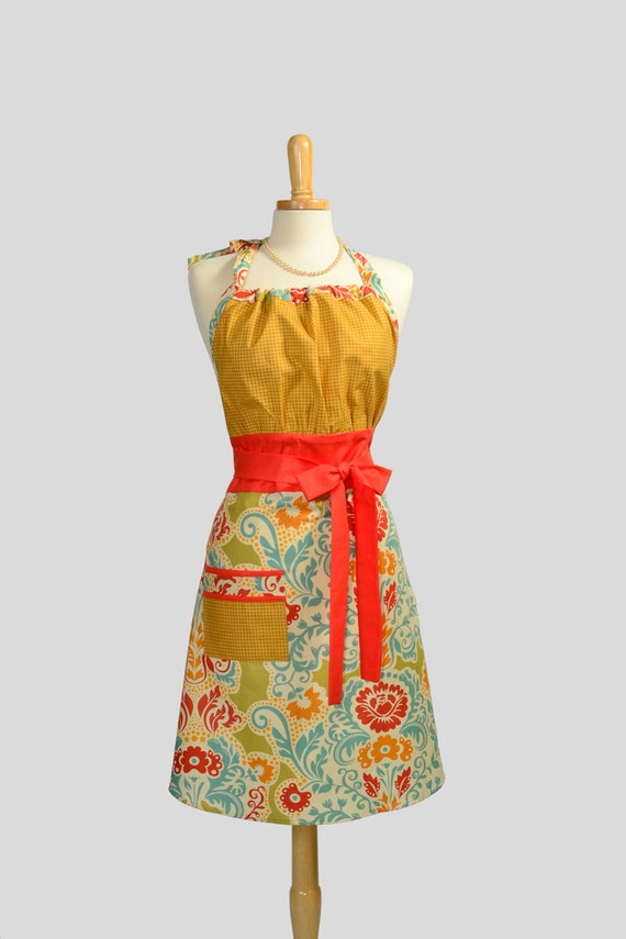 Cute Kitsch Apron / Retro to the Max in Colors of Mango Orange Soft Aqua and Gold Houndstooth a Knockout Retro Apron to Pin