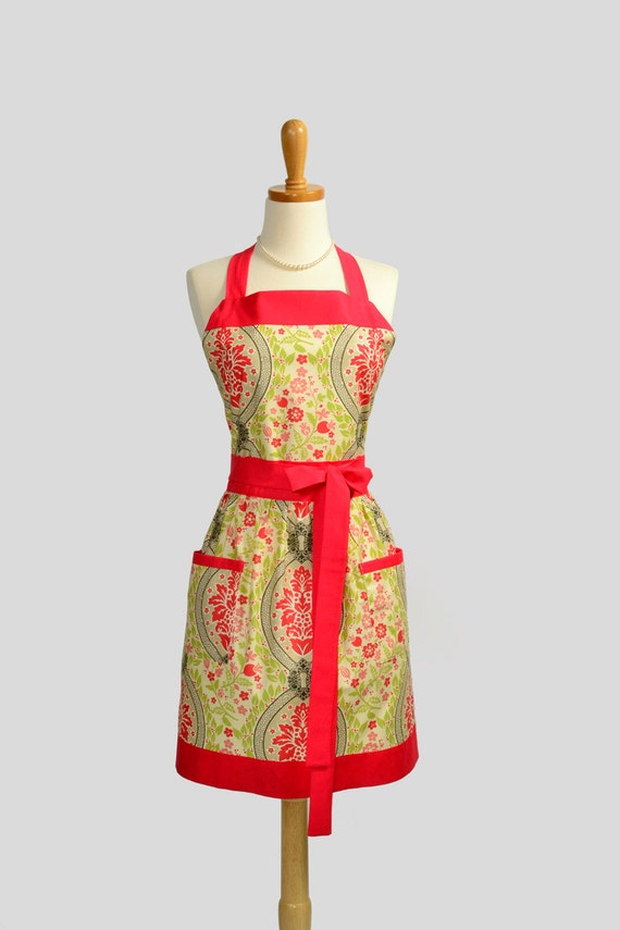Womens Bib Apron / Retro Damask Design Called Secret Garden in colors of of Charcoal Gray and Watermelon Red