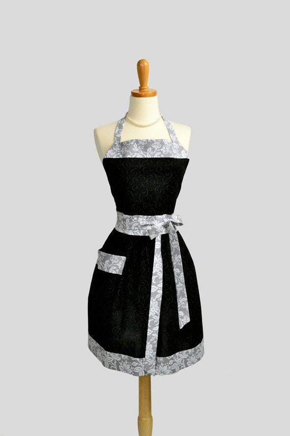 Womens Bib Apron , Grey Swirls on Black in a Sexy Yet Very Traditional and Sophisticated Fitted Waist Gathered Skirt