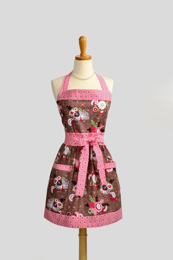 Womens Bib Full Apron . Full Kitchen Apron in Michael Miller Peacock Lane Bouquet Brown and Coral Perfect for Monogram or Personalization