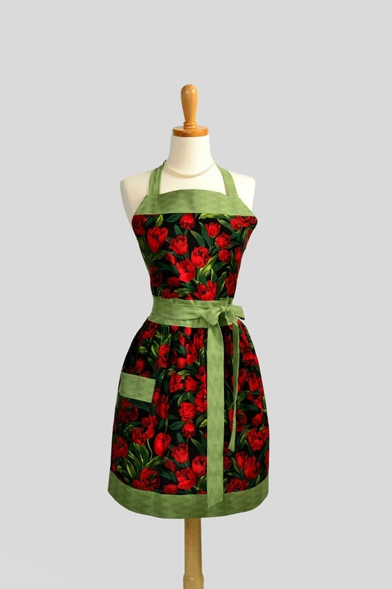 Womens Bib Full Apron : Full Kitchen Apron Michael Miller Rouge Baby Tulips Red with Lime Green Perfect for Monogram or Persoalization