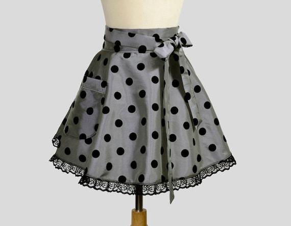 Waist Half Womens Apron - Glamour Hostess Handmade Elegant Charcoal Gray Taffeta with Flocked Black Polka Dots and Black Lace