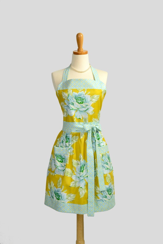Retro Vintage Bib Apron / Heather Bailey Rose Floral in Antique Gold and Sky Blue