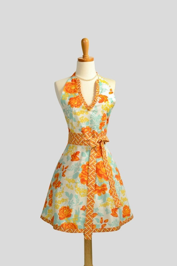 Halter Womens Apron /  Retro Womens Full Handmade Apron in shades of Dusty Orange Teal and Ivory