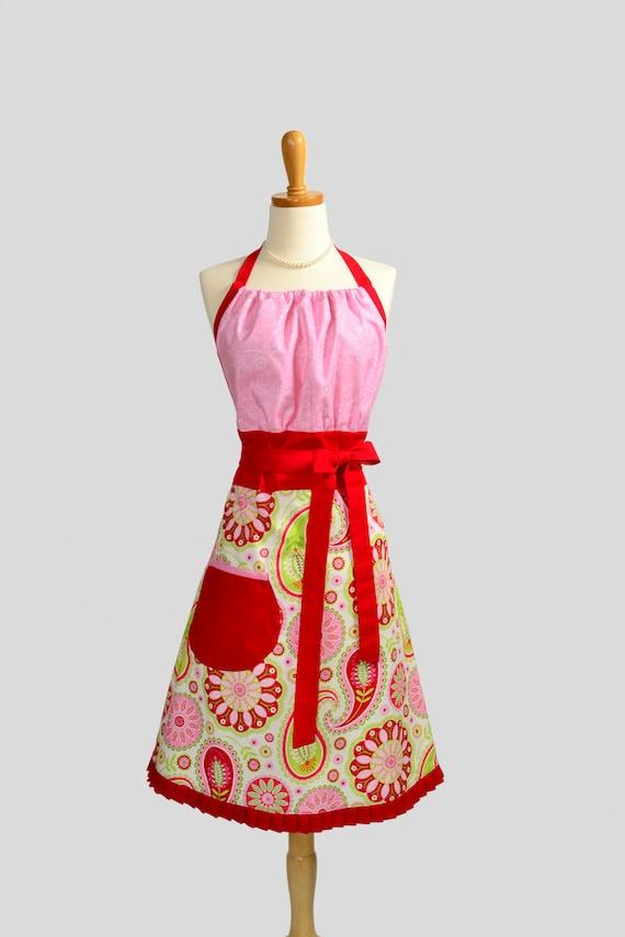 Cute Kitsch Apron : Gypsy Bandana Rose Paisley with Pink Bib by Michael Miller