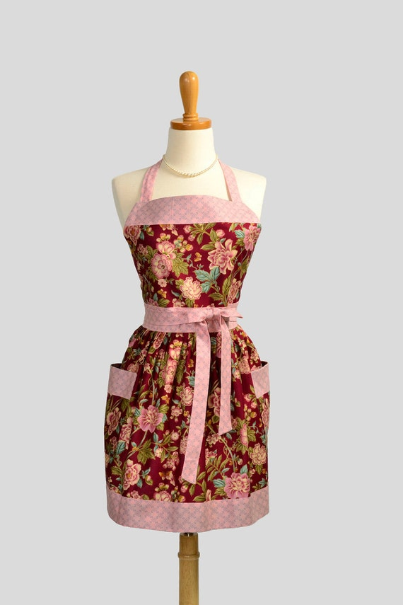 Womens Bib Full Apron : Full Kitchen Apron in Burgundy Floral Crimson Perfect For Monogram or Persoalization