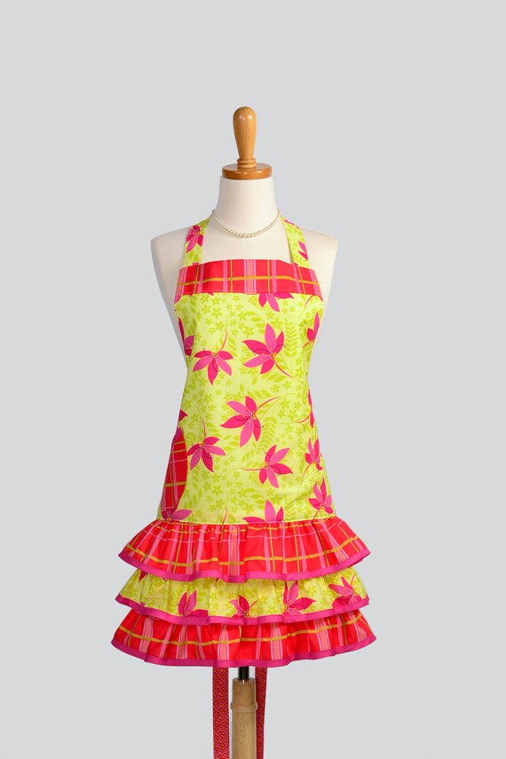 Ruffled Retro Apron .  Full Womens Apron Citron in Hot Pink Plaid in Cute Ruffled Skirt