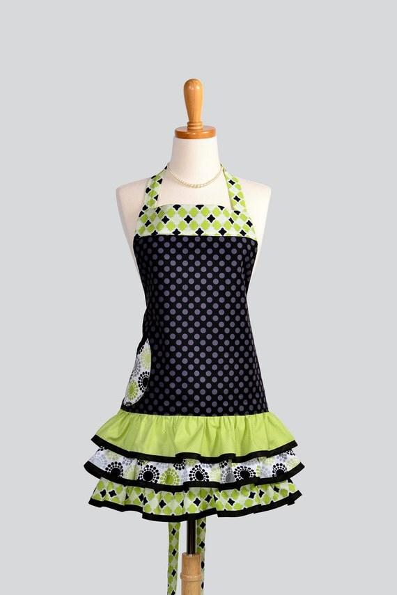 Ruffled Retro Apron . Flirty Full Womens Handmade Apron Michael Millers Black TaDot and Lime GreenRuffled Vintage Style Skirt