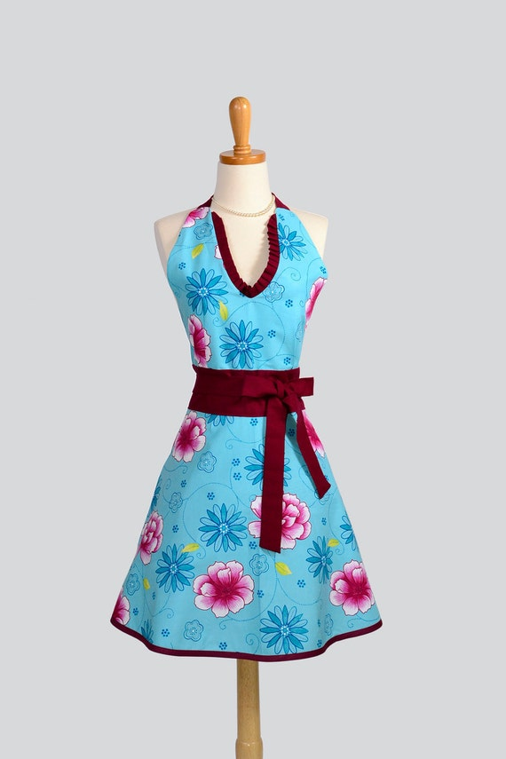 SALE 25% OFF Halter Womens  Apron : Cute Handmade Full Bib Kitchen Apron in Aqua Blue and Burgundy Floral with Maroon trim